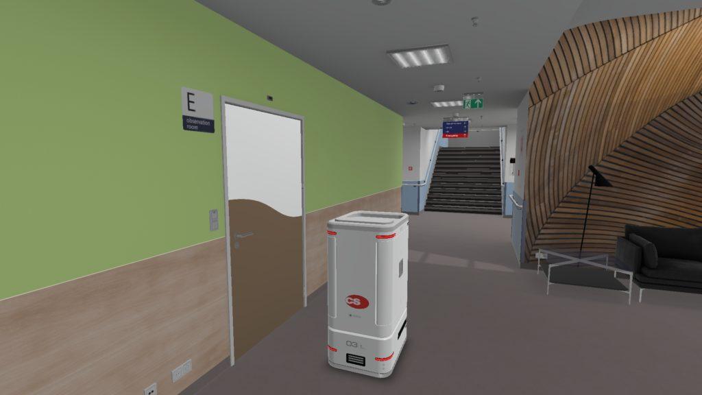 Robot dans décor d'hôpital vision réelle 3D